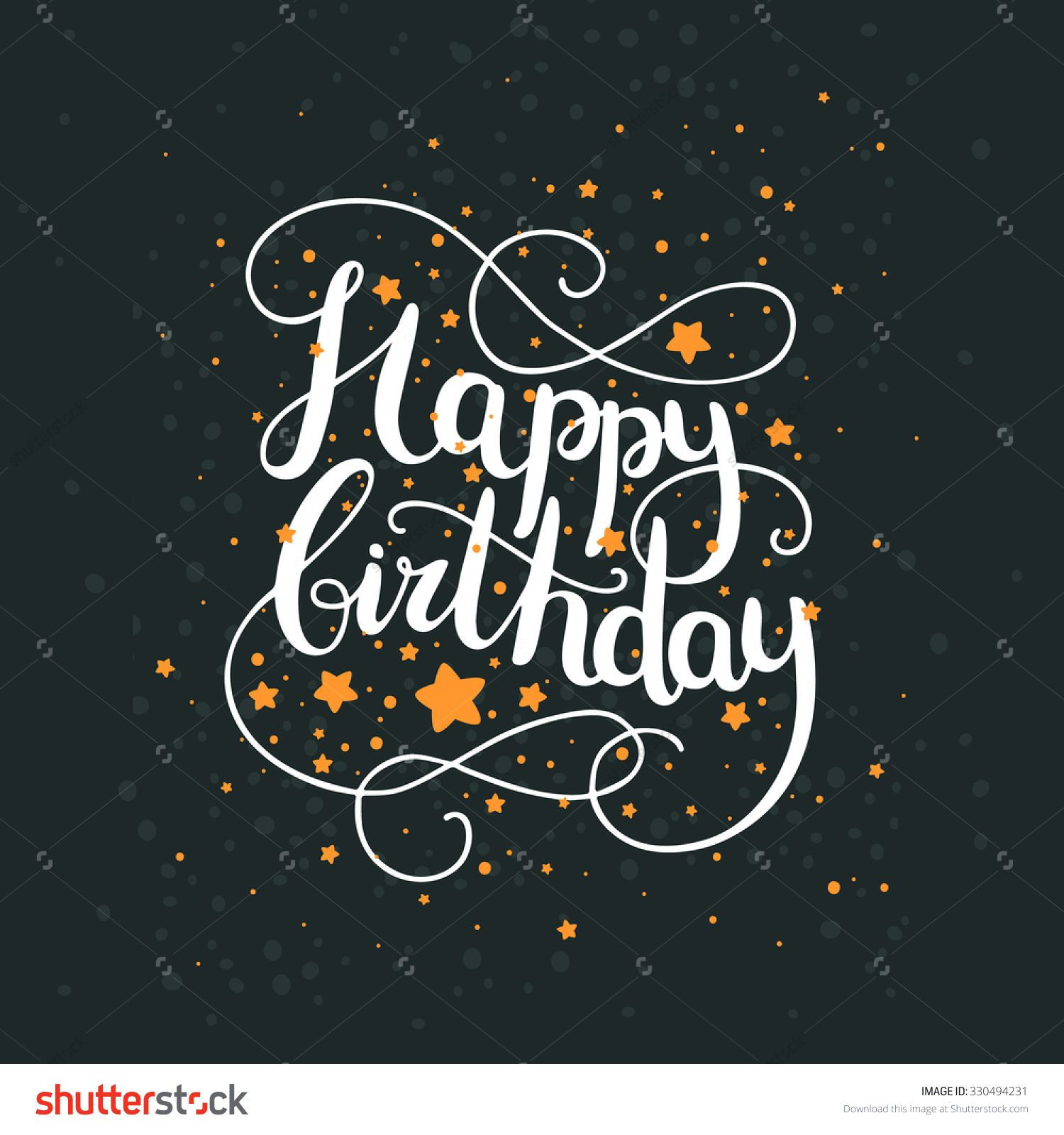 Happy birthday card with hand drawn lettering and space