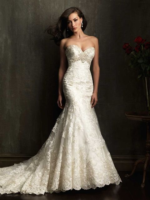 Ons And Lace Dropped Waist Wedding Dress