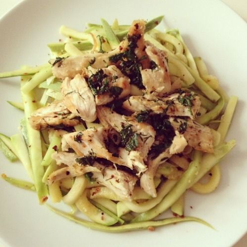 Linguine Zucchini & Grilled Chicken Breast