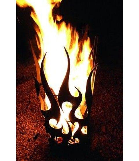 Ferrum GEFLAMMTE FEUERSÄULE Flammenkorb Feuerstelle Feuerkorb Edelrost Metall