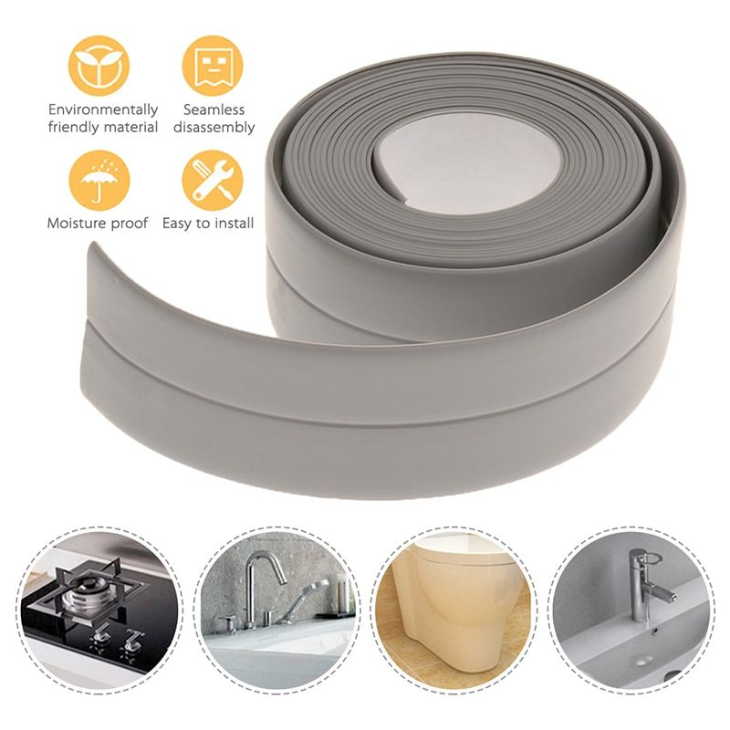1 Roll Pvc Bathroom Shower Sink Bath Sealing Strip Tape Caulk Strip Self Adhesive Waterproof Wall Sticker For Bathroom Kitchen