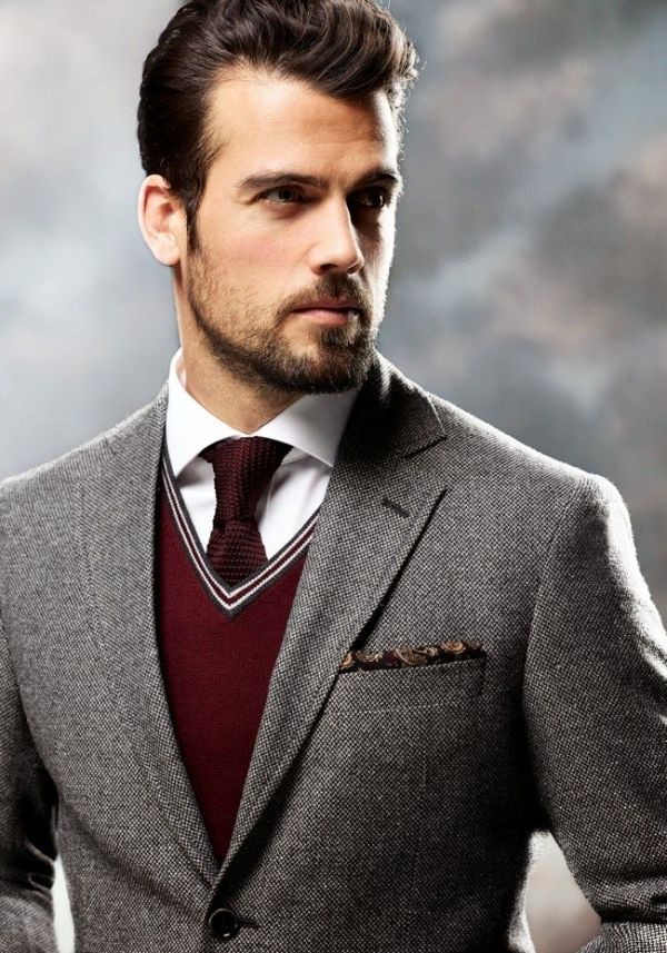 gray suit. maroon sweater vest. white oxford. maroon knit tie ...