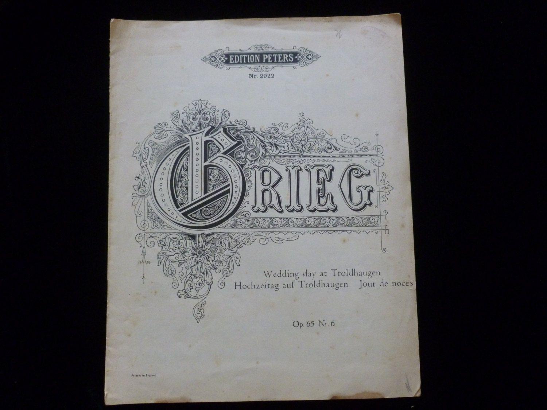 Vintage Edvard Grieg Sheet Music Wedding Day At Troldhaugen Etsy Sheet Music Wedding Vintage Paper Prints