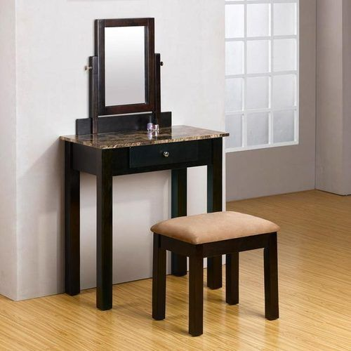 Concise Lively Style 2 PC Espresso Make Up Table Dresser Vanity Set w Bench   eBay