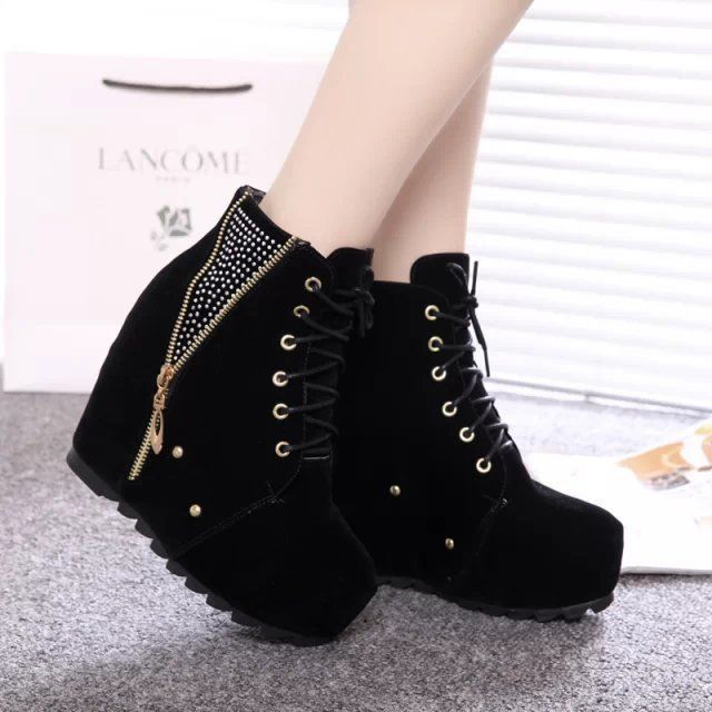 Womens Fashion Rivet Platform Wedge Heels Round Toe Lace Up Ankle Boots Shoes
