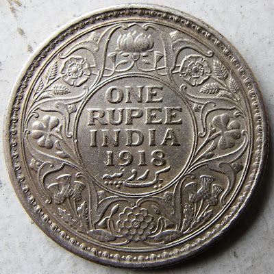 India 1 Rupia 1918 Giorgio V Numismatic Coins Coin Art Coins