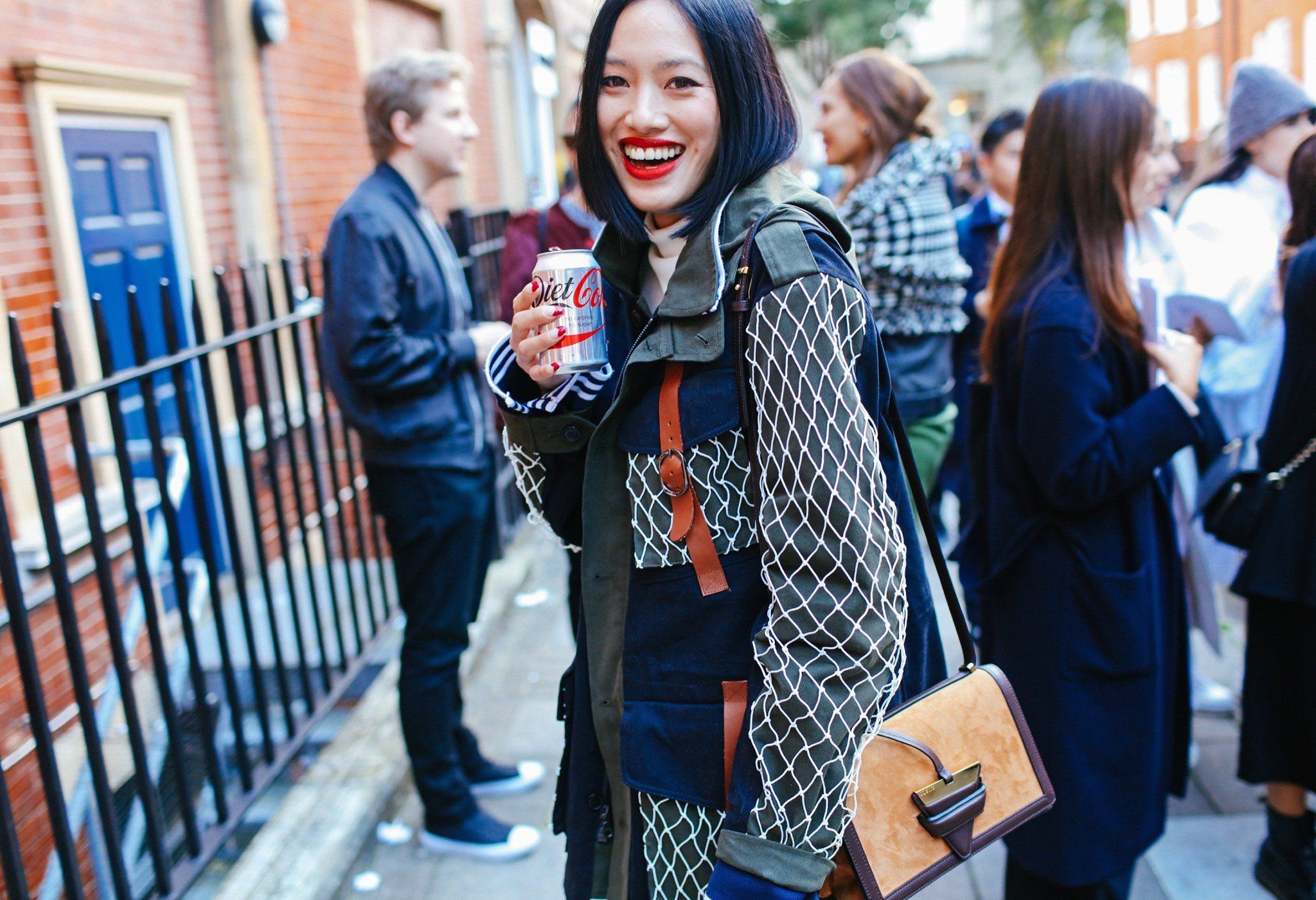 Tiffany Hsu in a Rodarte jacket with a Loewe bag