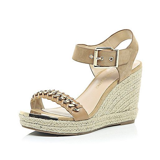 Beige chain front espadrille wedges - wedges - shoes / boots - women