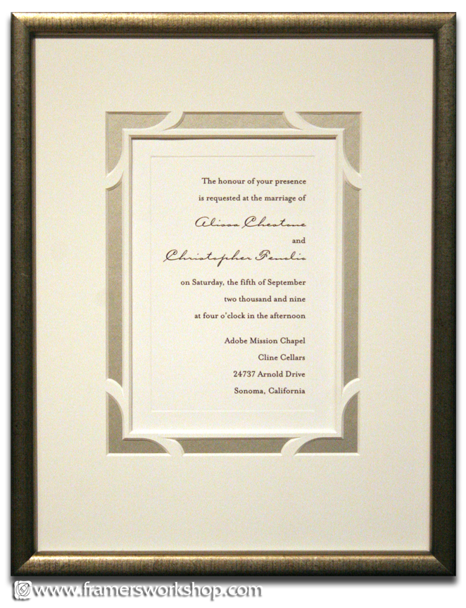Beautiful cut mat detailing on this custom framed wedding invitation ...