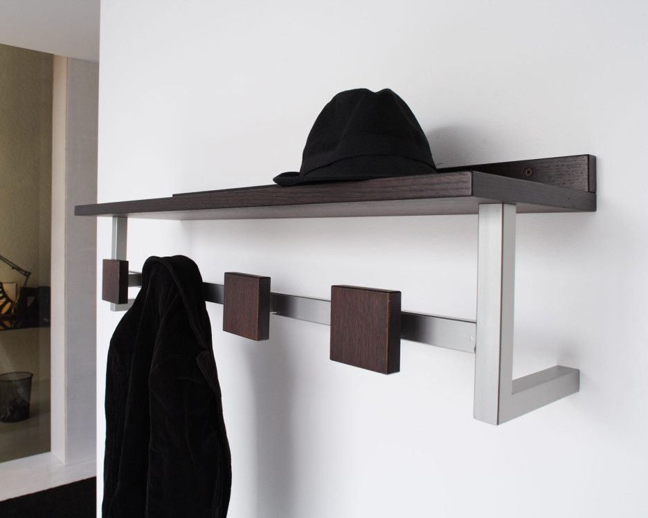 Interior. Stainless Stell Wall Mounted Coat Hook Storage Hanger With Dark  Brown Wooden Shelf.