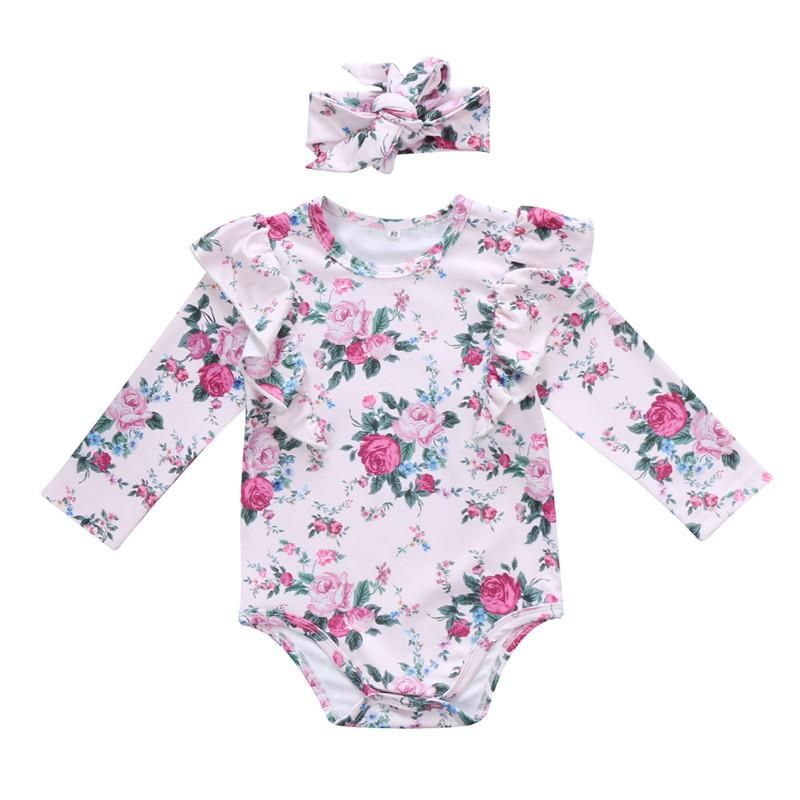 Girl Clothes Long Sleeve Romper Jumpsuit+Headband Cotton Infant Baby Outfits