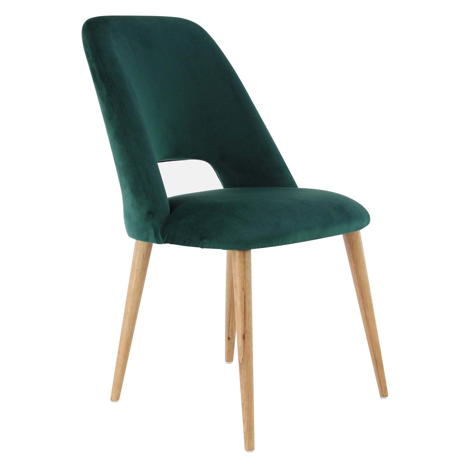 Decmode wood and fabric cushioned dining chair green