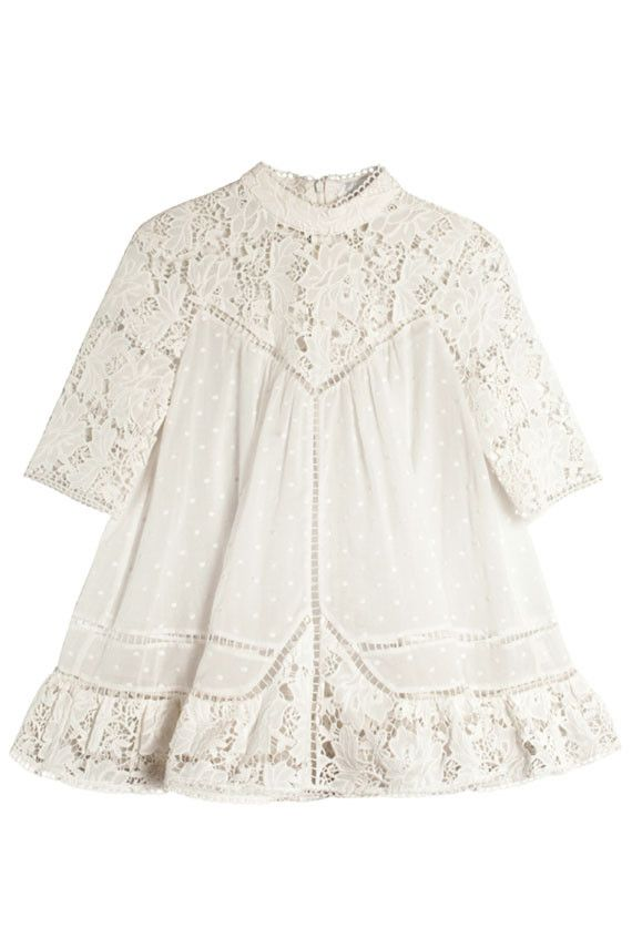 744545a80874e5 Zimmermann - Caravan Embroidered Smock Top | BONA DRAG High Neck Lace Top,  Cute Girl