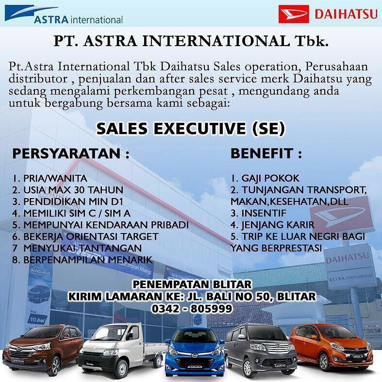 Lowongan Sales Executive Pt Astra International Tbk Daihatsu