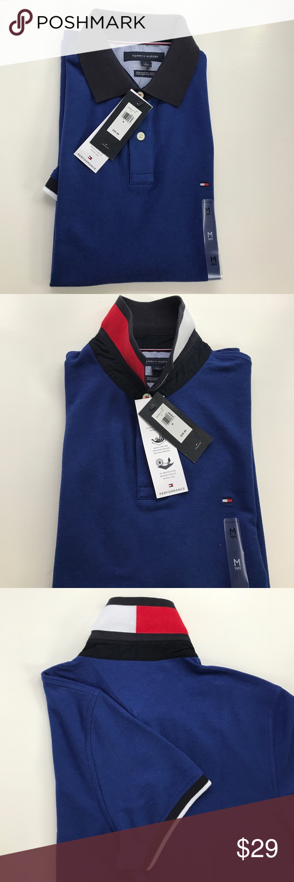 Tommy Hilfiger Polo Shirt, Medium,NWT Tommy Hilfiger Performance  Pique, Men's Polo Shirt, Medium Size,NWT Tommy Hilfiger Shirts Tees - Short Sleeve