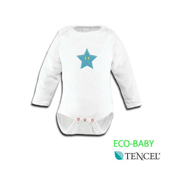 The long-sleeve Star TENCEL® Baby Bodysuit is made from a naturally derived man-made fabric called Tencel and features colourful nickel-free poppers, a lap neck for easy dressing and a blue or yellow star. The ENCEL® Baby Bodysuit is hypoallergenic, very absorbent and breathable.  www.urbanmummy.co.uk