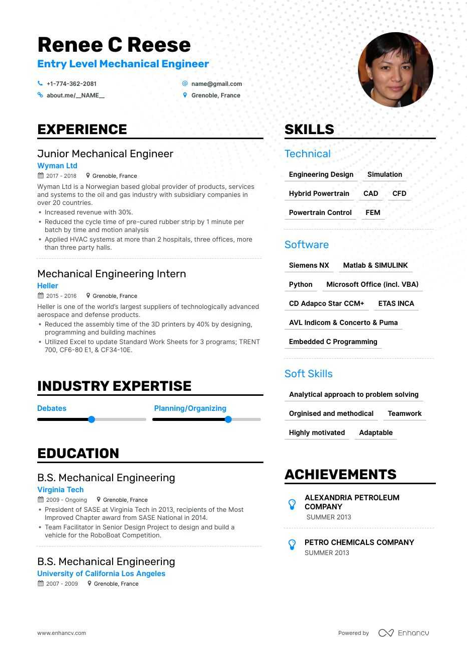 Find Entry Level Mechanical Engineering Resume