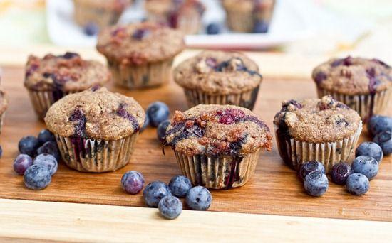 Mini Whole Wheat Blueberry Breakfast Muffins