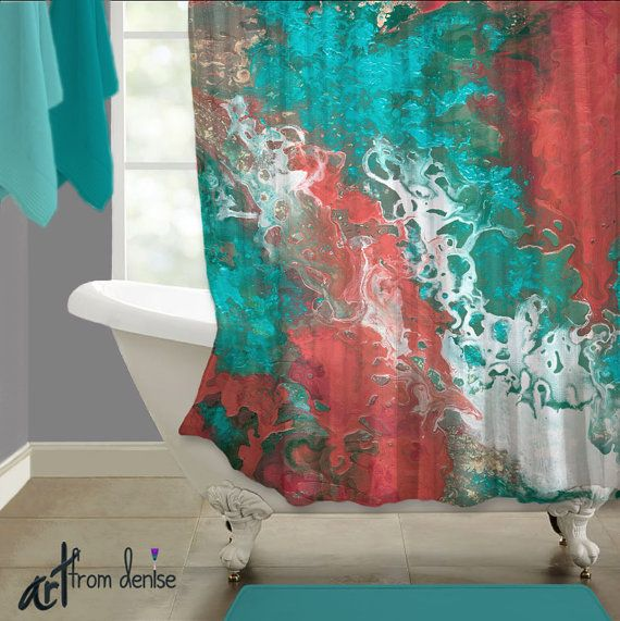 Aqua White Coral And Teal Shower Curtain Abstract Fabric Etsy Teal Shower Curtains Master Bathroom Decor Bathroom Decor