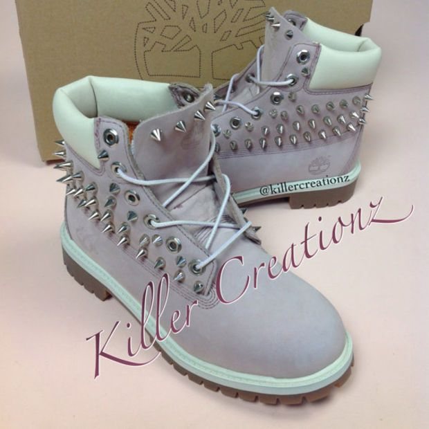 Custom Spiked Pink Timberland Boots -made to order- Junior Women s sizes cb87b137e