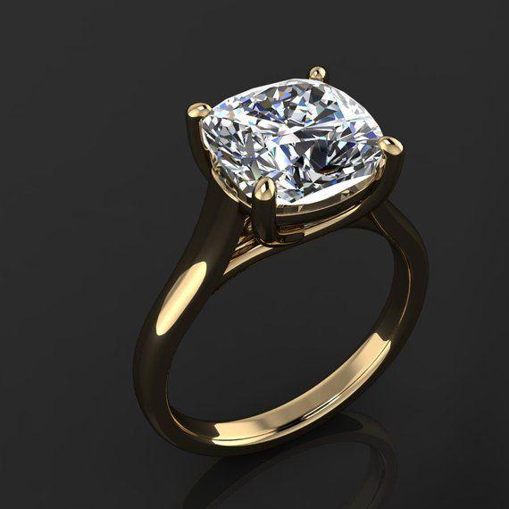 Katya Ring 4 Carat Cushion Cut Neo Moissanite Engagement Ring