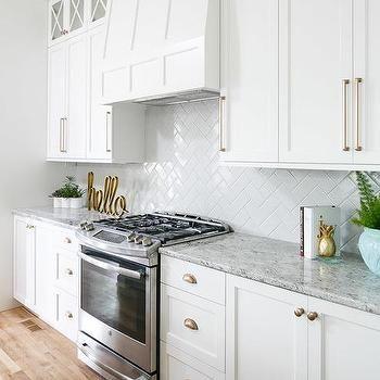 White Kitchen Cabinets with Champagne Gold Hardware | kitchen ideas ...