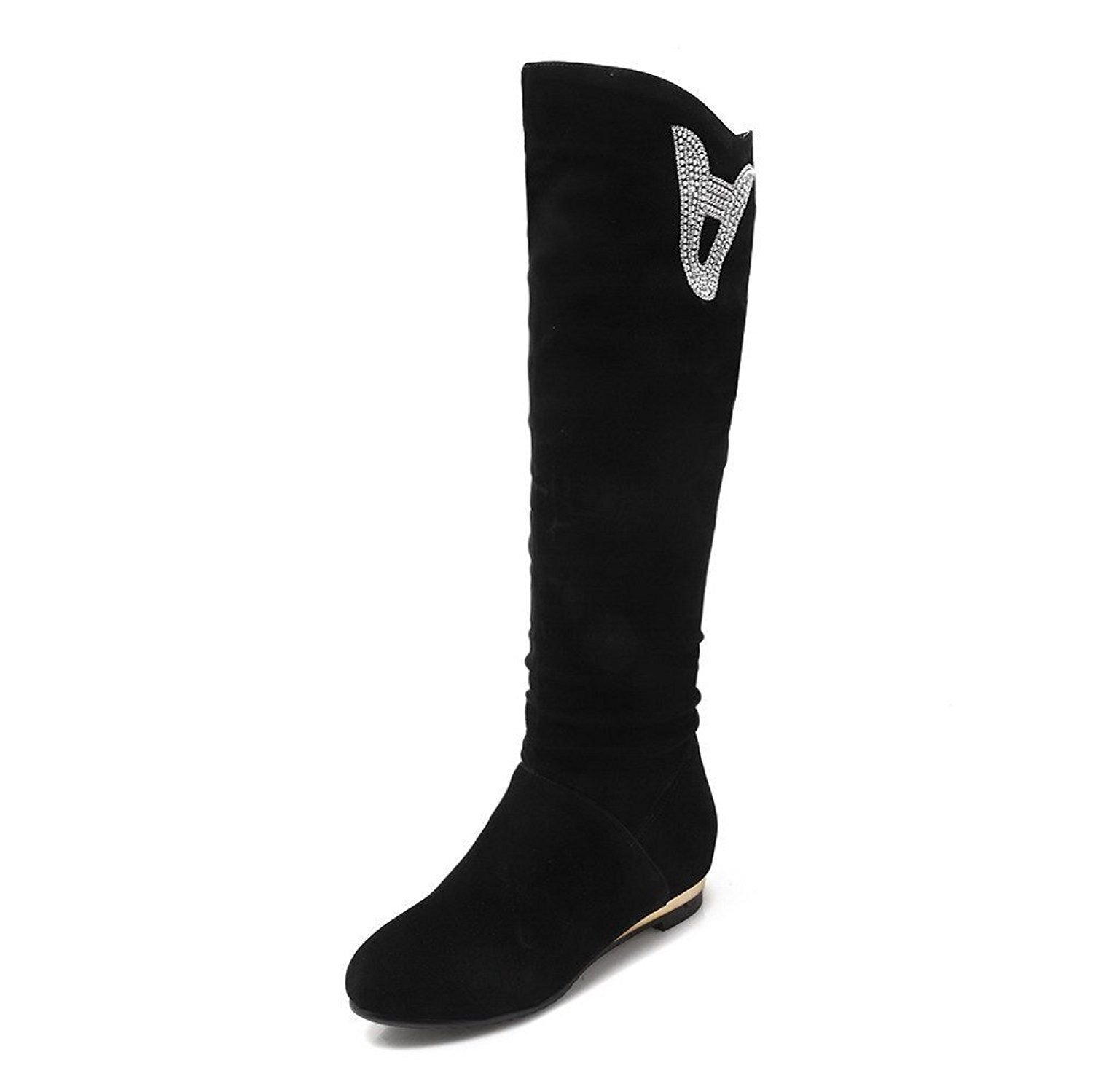 VogueZone009 Women's Low-heels Round Closed toe Frosted Knee-high Boots >>> Be sure to check out this awesome product.