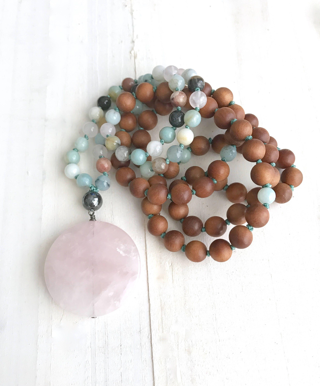 Open Your Heart Mala Necklace Rose Quartz Mala Beads