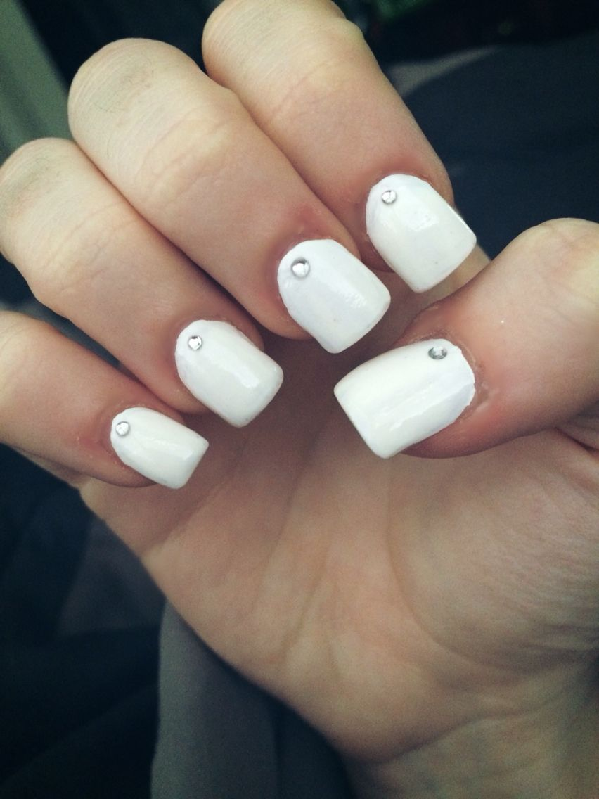 White Square Nails With One Diamond Pink Acrylic Nails Square Nails Nails