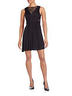 3edcb34b24572 Bailey 44 - Dark Seduction Lace-Paneled Gathered Dress | Little ...