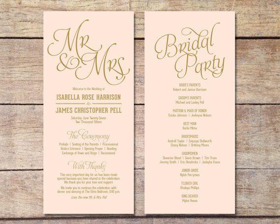 Blush Pink & Gold Wedding Program, Classic Glam, Customizable ...