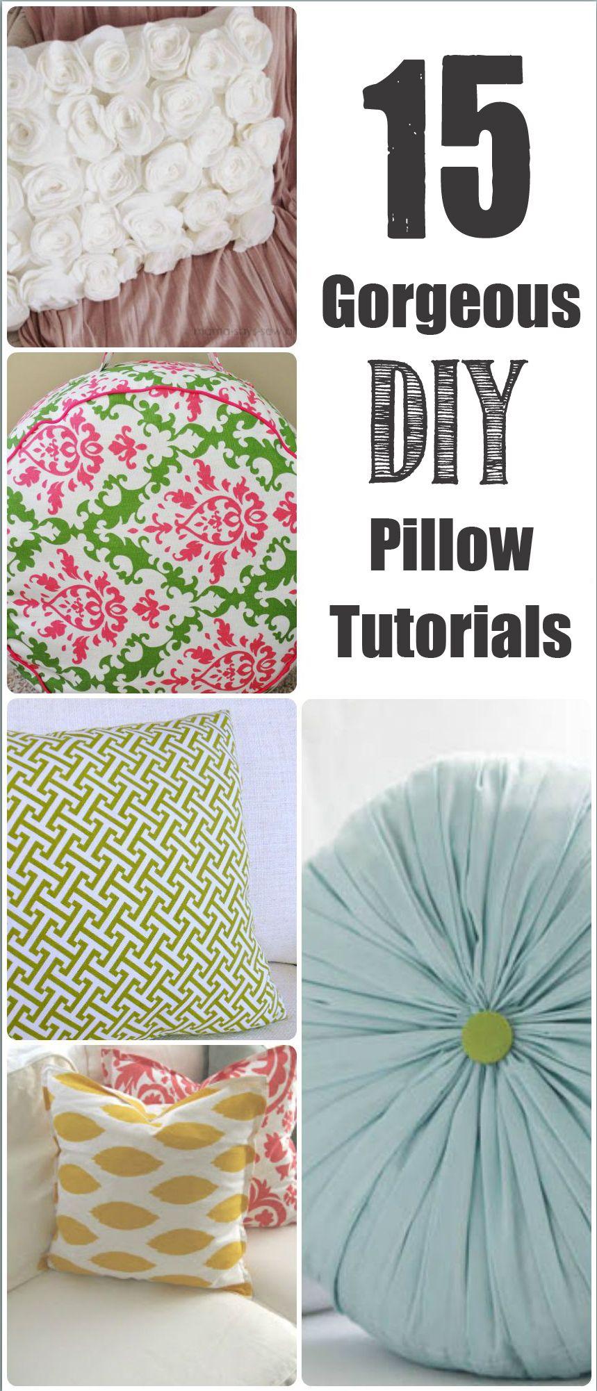 gorgeous diy pillow tutorials int rieur pinterest couture couette et deco. Black Bedroom Furniture Sets. Home Design Ideas