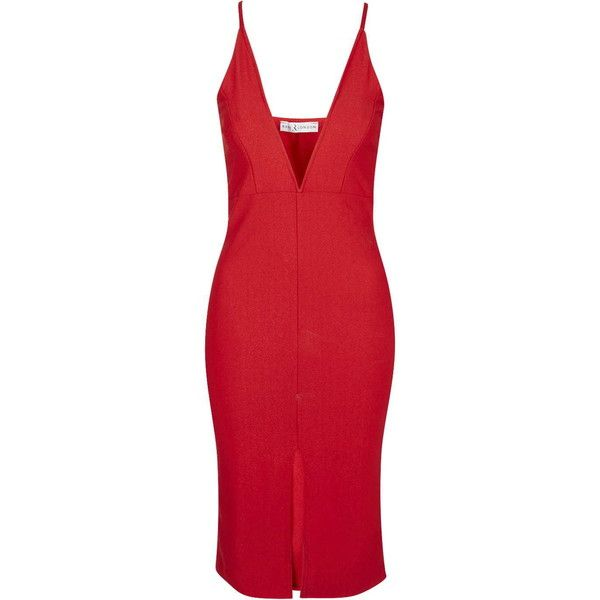 Cross Back Plunge Midi Dress by Rare (£35) ❤ liked on Polyvore featuring dresses, red, red midi dress, topshop dresses, plunge dress, body con dress and plunge neck dress