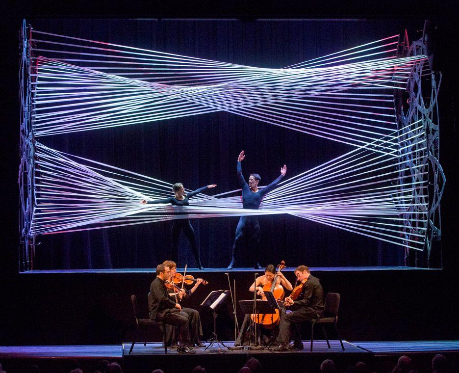 Gabriel calatrava designs stretchy rope installation for