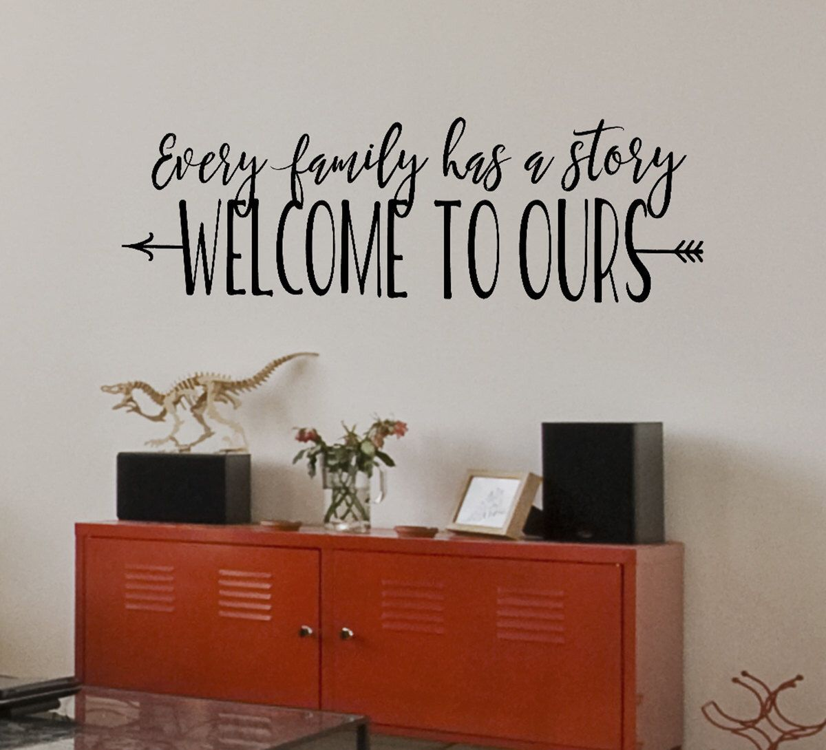 every family has a story welcome to ours family wall on wall stickers for living room id=23447