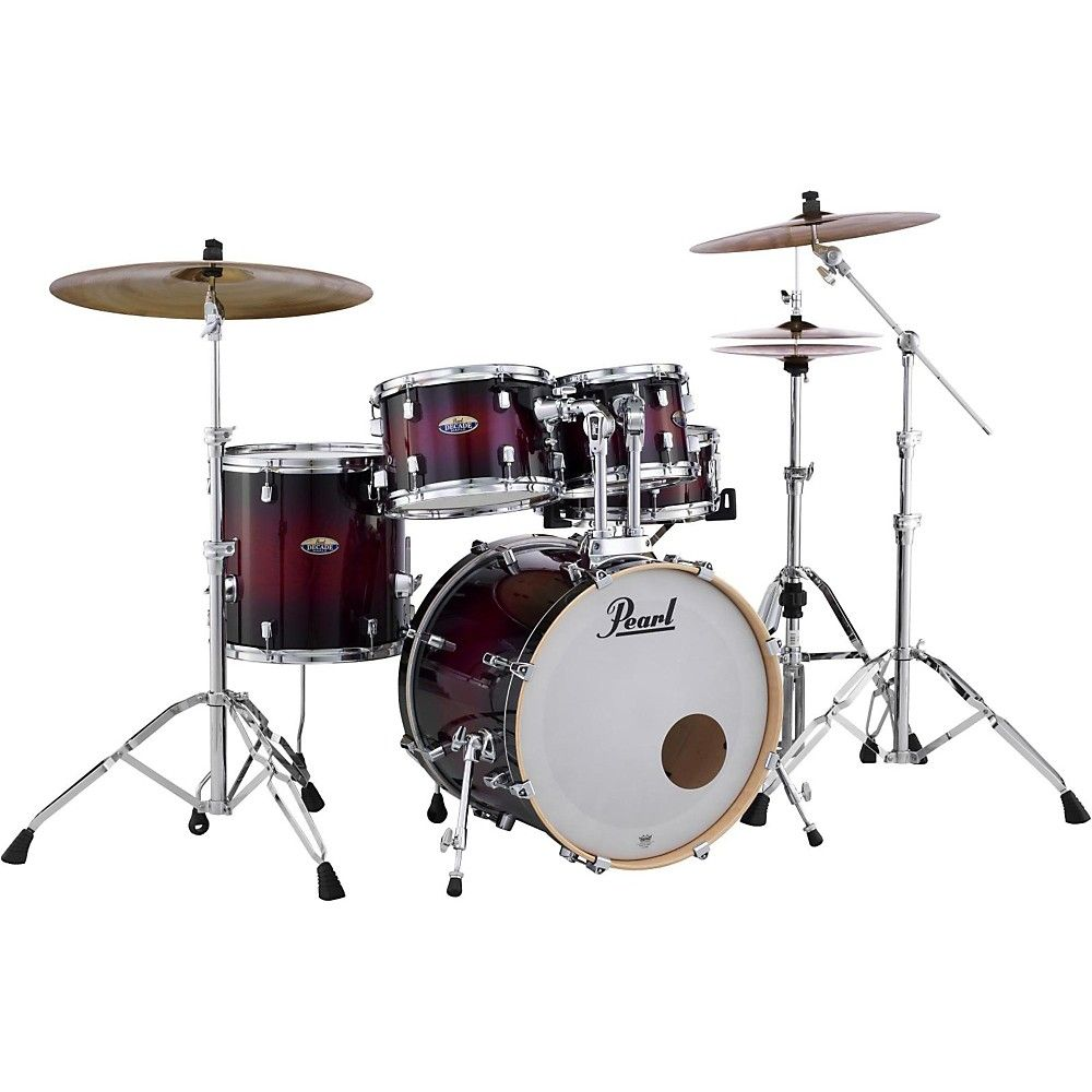 Decade Maple 5 Piece Shell Pack Gloss Deep Red Burst Drums Drum