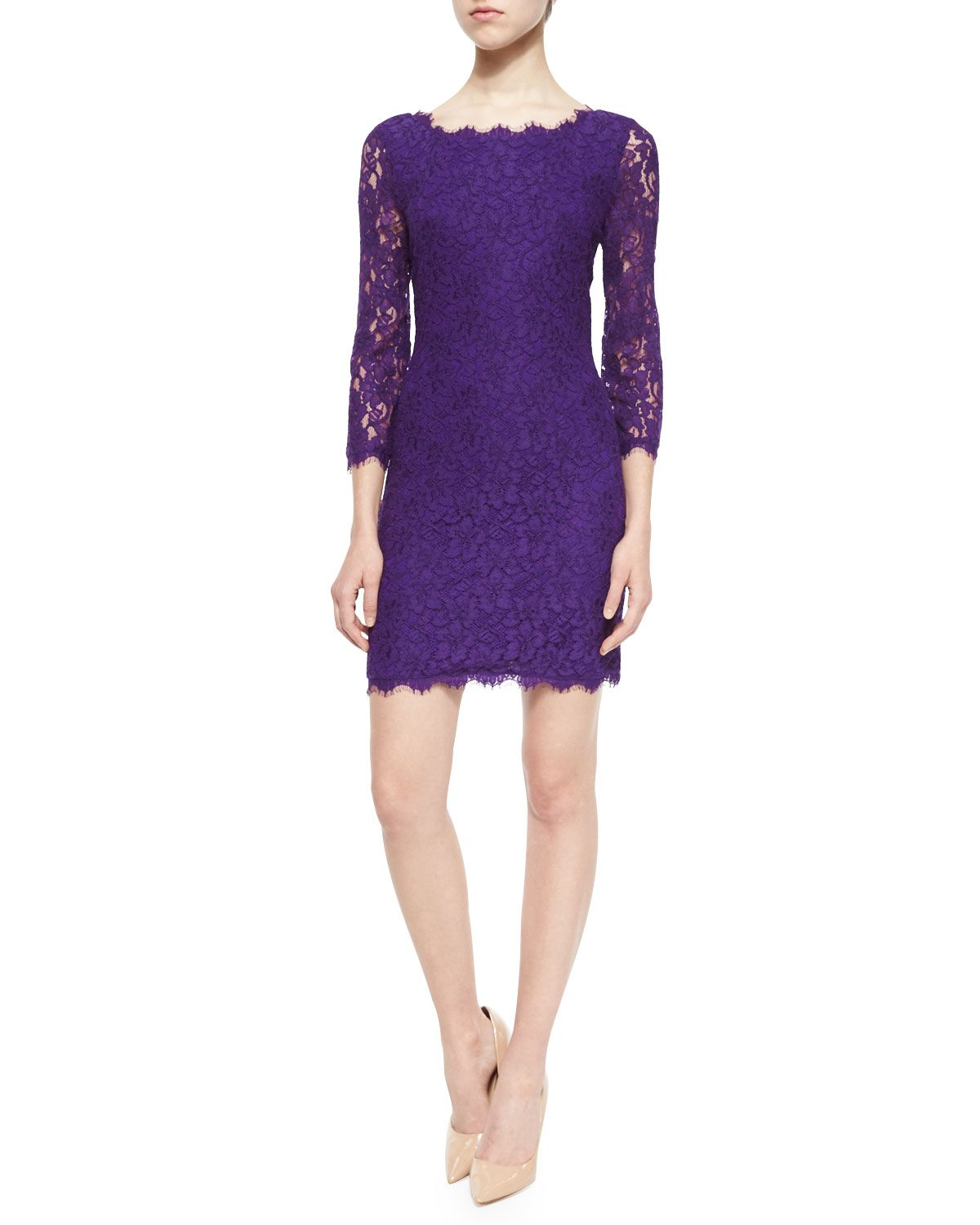 Zarita 3/4-Sleeve Lace Sheath Dress, Purple, Women\'s, Size: 10 ...