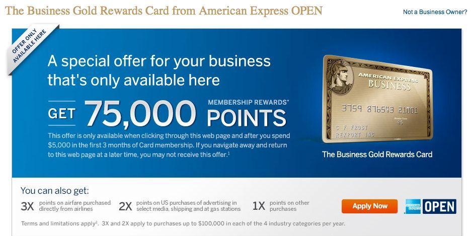 American Express Open Business Gold Beloningar Kort Poang For