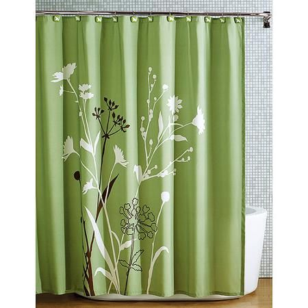 Brown Walls Green Shower Curtain