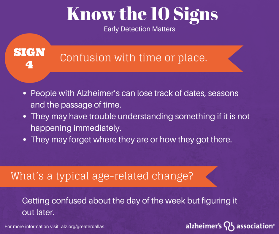 Confusing dates and times, especially important dates such as birthdays, could be a sign of Alzheimer's or another dementia. Learn all the signs and what to do if you or a loved one is experiencing these signs at www.alz.org/10signs