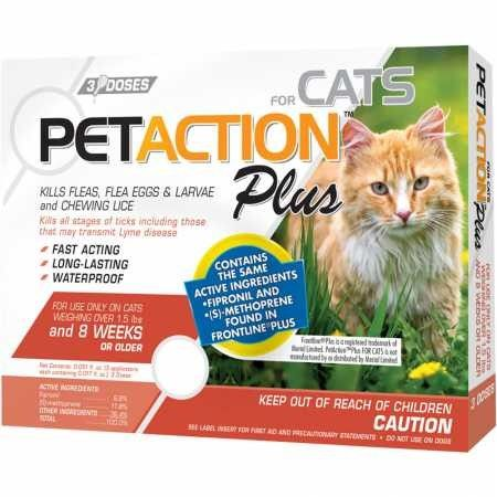 Petaction Plus Flea Tick Protection Cat Treatment 3 Ct As