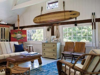 Coastal surf style for the living room at home with artist for Surfboard decor for bedrooms