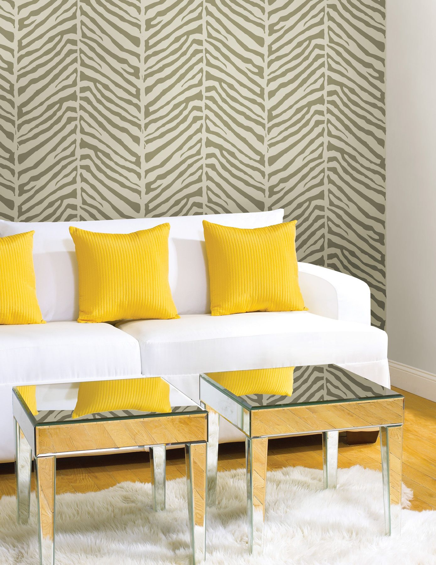 Zebra print wallpaper feature wall