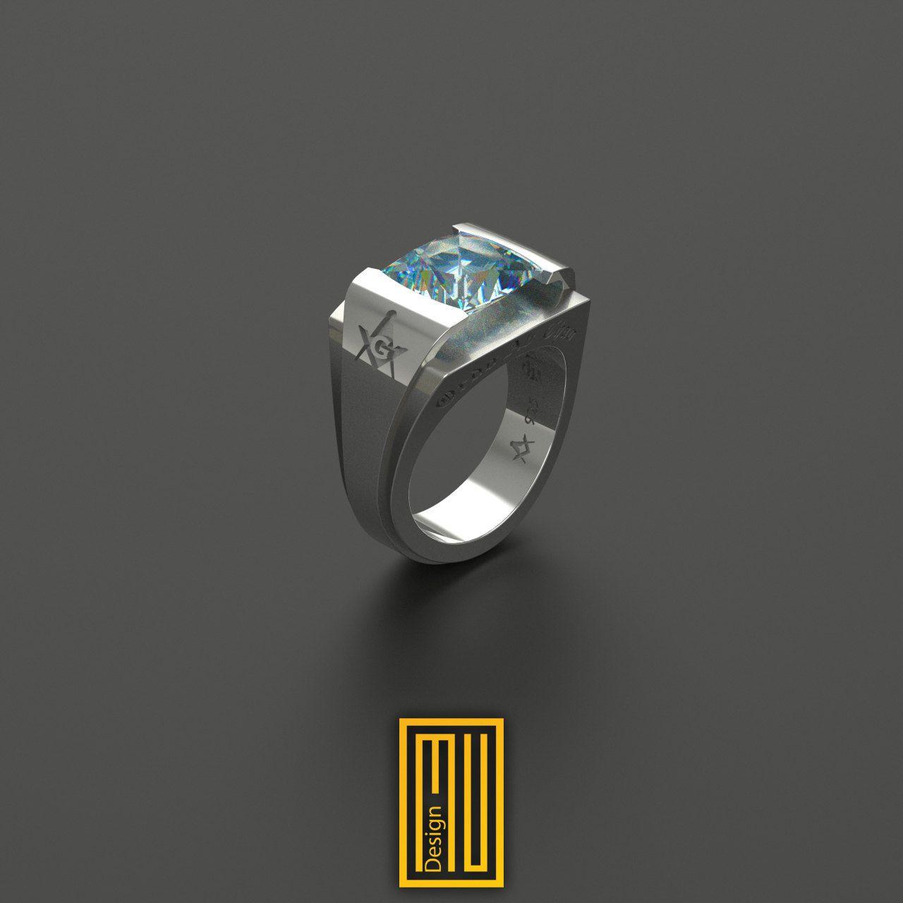 AASR 32 Degree Masonic Rings Unique Design for Men Blue Sky