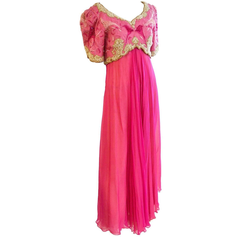Richilene Vintage Dress Embroidered Beaded Evening Gown Neiman Marcus Silk   081c820c4