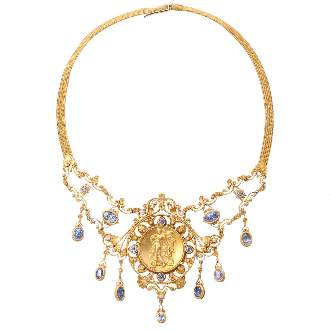 Antique Italian Renaissance Sapphire, Pearl and Gold Necklace 19century