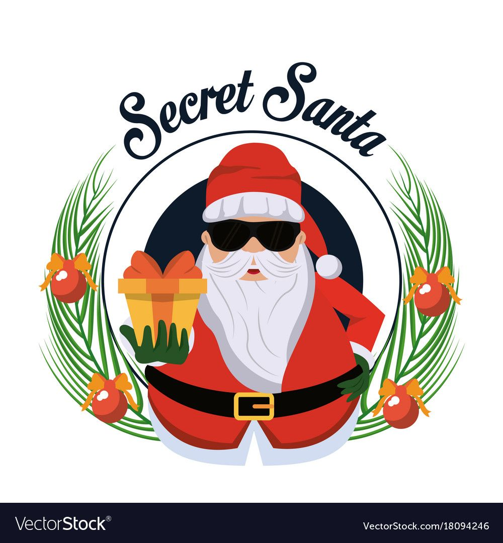 Secret Santa Cartoon Icon Vector Illustration Graphic Design Download A Free Preview Or High Quality Adobe Illustra Santa Cartoon Secret Santa Cartoons Vector