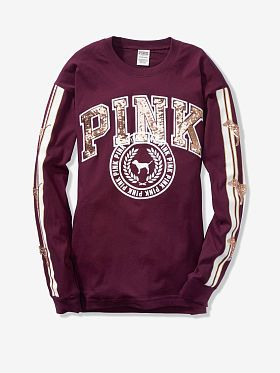 9d381f8826f30 Bling Long Sleeve Campus Tee | Wishlist for Christmas | Pink sequin ...