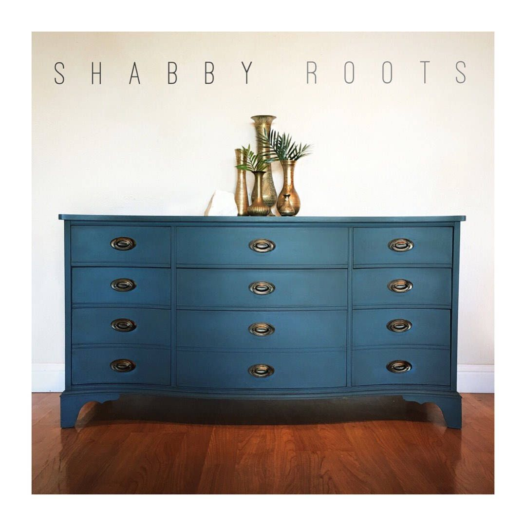 Excited To Share The Latest Addition To My Etsy Shop Sold Vintage Indigo Blue Long Dresser Bow Front Triple Dresser M Long Dresser Furniture Cool Furniture [ 1080 x 1080 Pixel ]