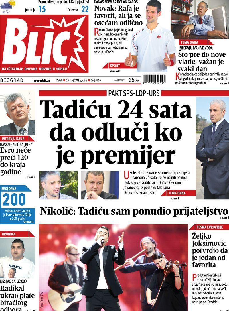 """Naslovna strana """"Blica"""" za 25. maj 2012. Data, Print, Majors"""